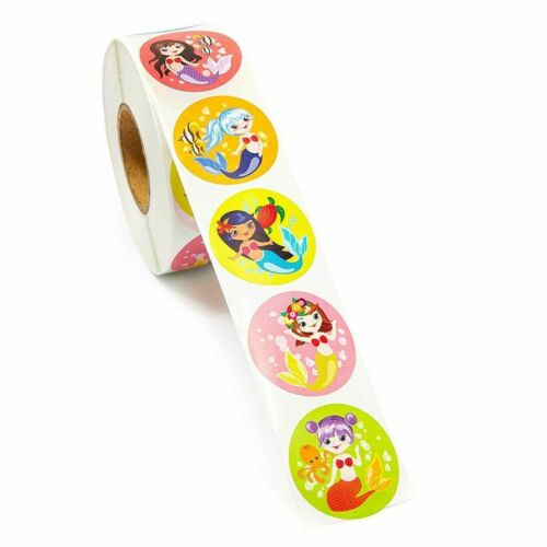 Girls 1000x Mermaid Round Stickers for Kids Party Favor Scrapbook 1.5 Inches