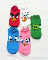 Angry Birds Ped Socks Set Of 5 Pairs (you Get All 5 Pairs)kids Age 5-10