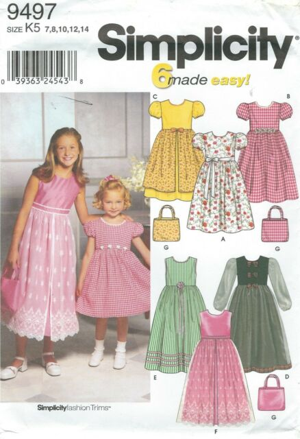 a96de5ce62b6 simplicity 9497 Pattern 6 Made Easy Girls Dress Variations Size K5 7 - 14