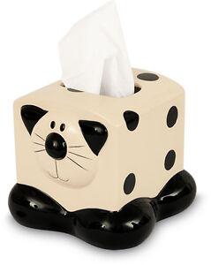 2Kewt-Ceramic-Cat-Feline-Tissue-Box-Holder-Dispenser-Bathroom-Accessory-New