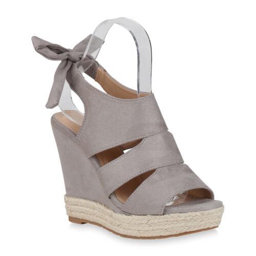 Damen Plateau Sandaletten Keilsandaletten Bast Freizeit Schuhe 823098 Trendy