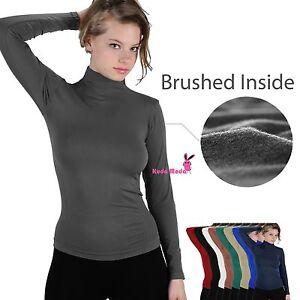 Winter-Warm-Brushed-Fleece-Long-Sleeve-Stretch-Turtleneck-Mock-Neck-Top-Shirt