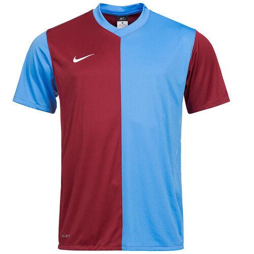 Détails sur Nike Dri Fit Entraînement Football Haut Hommes T Shirt Bordeaux Bleu 361114 677