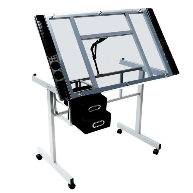 Adjustable Drafting Drawing Craft Table Art Glass Desk W/Storage Drawers US