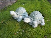Turtle Pair, Small Painted Concrete Turtle Statues