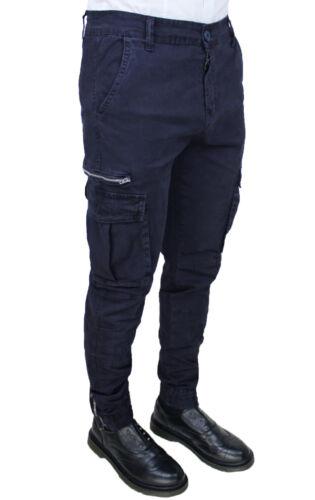Slim Blu scuro scuro cotone Pantaloni Diamond uomo blu Fit Cargo Jeans casual da wxqp7qn0X