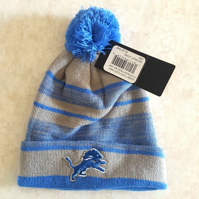 new product e0003 e84c2 DETROIT LIONS Hat Knit Ski Pom Cap Embroidered Logo Striped NFL New OSFA