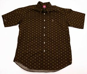 BAPE-A-Bathing-Ape-VTG-Men-039-s-XL-Brown-Bape-Star-Short-Sleeve-Button-Front-Shirt