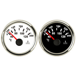 Marine-Water-Temperature-Gauge-Boat-Temp-Meter-Steel-40-120-C-White-Black