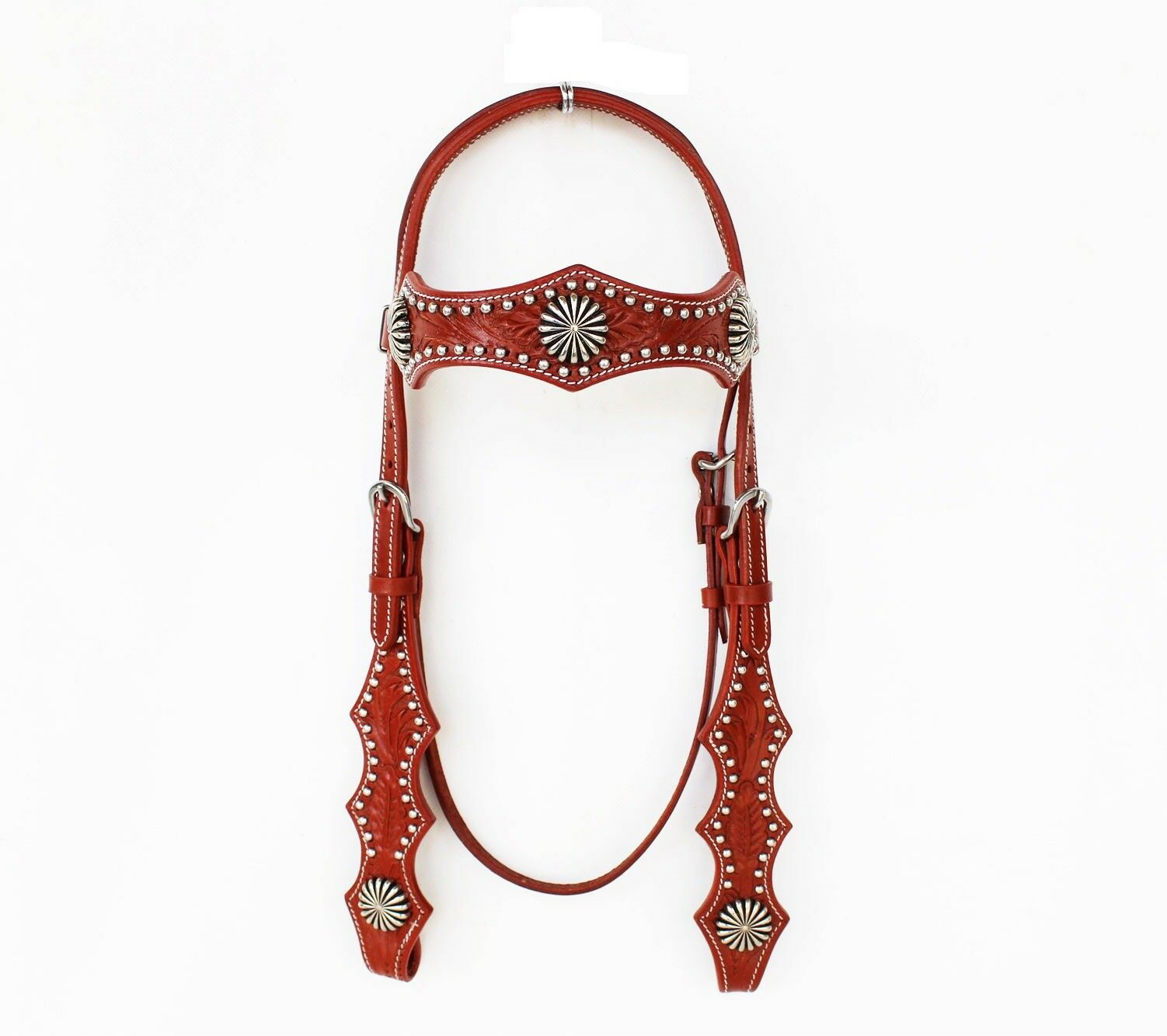 Western Tan Leather Shaped Brow band Style Headstall with Spots