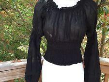 New_Romantic Renaissance Style_Peasant Boho Smocked Waist Top_Black_Beautiful