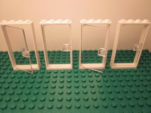 NEW Lego Lot of 4 Clear Transparent Doors with White Frames 1x4x6
