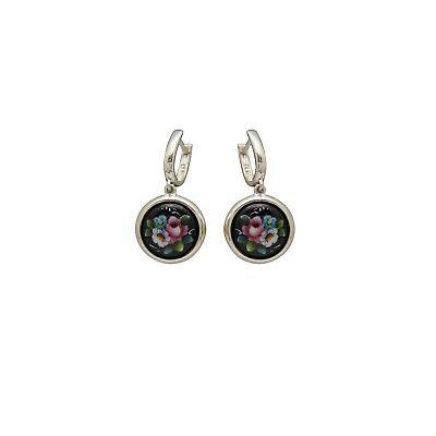 """Silver earrings Finift Russian style  from """"Factory """"Rostov enamel"""""""