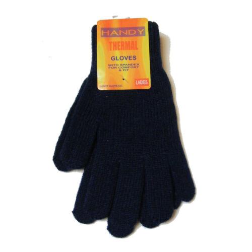 Damen dunkel blau Thermo gestrickt Winter Stretch-Handschuhe NEU