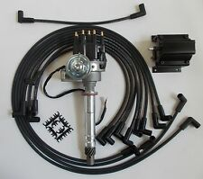 SMALL BLOCK CHEVY 350 BLACK Small HEI Distributor,coil, plug wires under exhaust