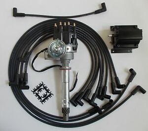 small block chevy 350 black small hei distributor coil plug wires image is loading small block chevy 350 black small hei distributor