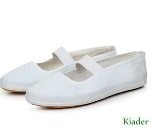 Casual-Womens-Work-Office-Canvas-White-Fashion-Flat-Slip-On-Loafer-Nurse-Shoes