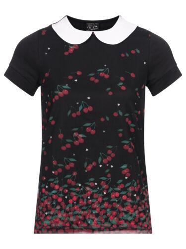 Pussy Deluxe Falling Cherries Collar Shirt schwarz