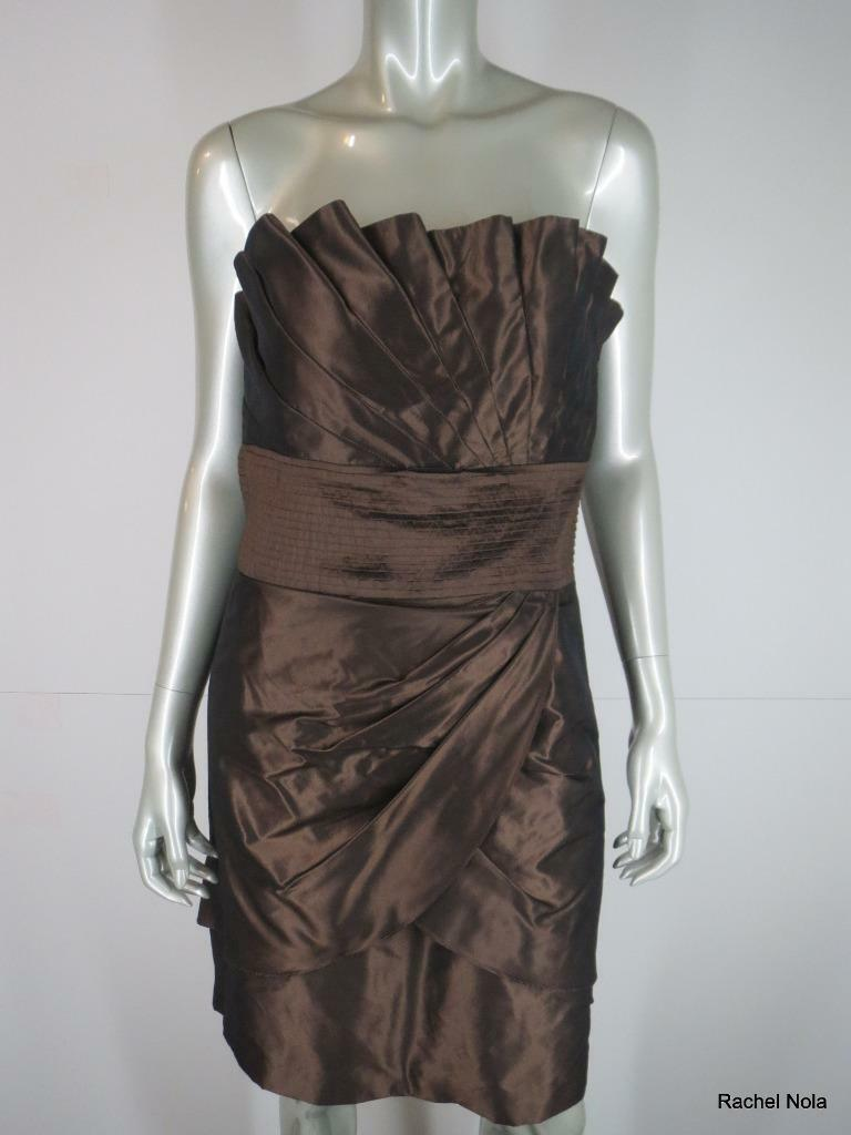 New Catherine Malandrino Dress Evening Strapless  Größe 8 M Silk braun Ruched