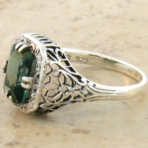 GREEN LAB AMETHYST 925 STERLING VICTORIAN ANTIQUE STYLE SILVER RING SZ 7.75,#785