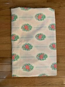 Vintage-Sheet-Sears-Perma-Prest-Percale-FULL-Flat-Pink-Blue-Flowers-Shabby-Chic
