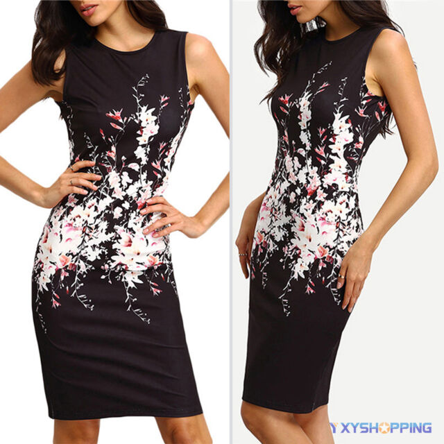 Womens Floral Sleeveless Prom Gown Cocktail Evening Party Bodycon Pencil Dresses