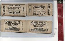 vintage lot one win tickets Baseball Game Whitneys Playland San Francisco Ca.