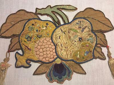 ANTIQUE 19th c QI'ING CHINESE EMBROIDERED POUCH/ PURSE/ ORNAMENT EMBROIDERY!