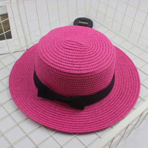 Kids sun straw hat boater hat girls bow summer beach flat panama straw hats