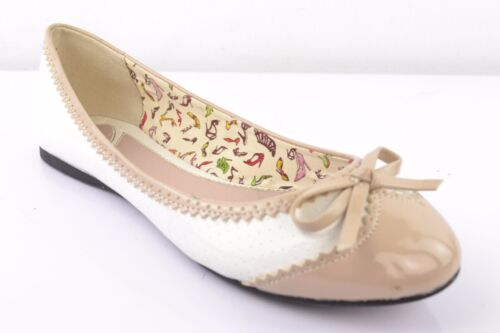 Miss Sixty Damen Ballerinas Slipper Mokassins offene Schuhe Lackleder Weiß Gr 37
