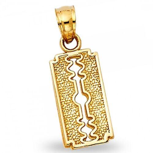 Solid 14k Yellow Gold Razor Blade Pendant Keyhole Charm Diamond Cut Milgrain