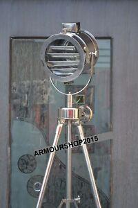 Nautical-Vintage-Corner-Spot-Light-Floor-Lamp-With-Steel-Tripod-Stand-Good-Item