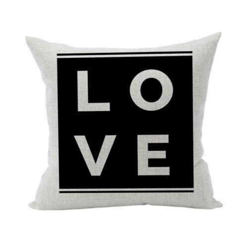 words Cushion Cover Home Sofa Decor Black /& White Linen Throw Pillow Case