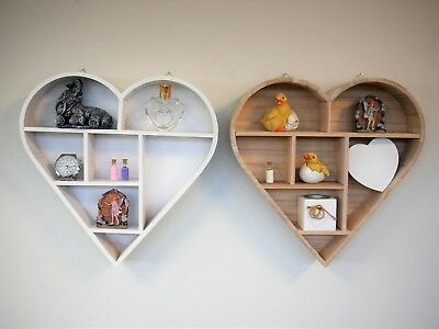 Wooden Heart Shaped Wall Hanging Shelf Unique Display Unit Shabby Chic Rack Ebay