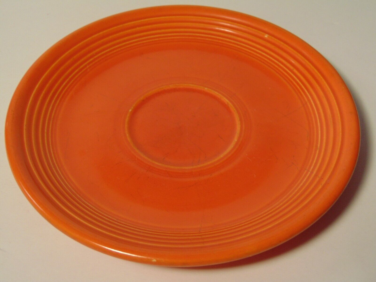 s l1600 - Old Vtg 1936 RED ORANGE RADIOACTIVE FIESTA SAUCER PLATE GEIGER COUNTER READING T