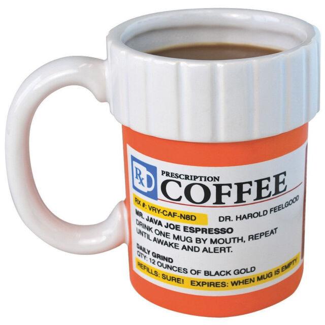 1 NEW PRESCRIPTION PILL BOTTLE COFFEE MUG GAG GIFT PRANK JOKE PARTY JAVA JOE