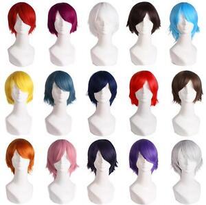 Mode-35cm-Perruque-Courte-Raide-Cosplay-Deguisement-Femmes-Hommes-Wig-Populaire