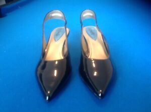 Womens-Fitzwell-Black-Patent-Leather-Slingback-Dress-Shoes-Size-7