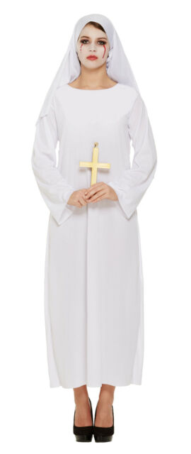 LADIES HALLOWEEN WHITE NUN MOTHER SUPERIOR SCARY GHOST ZOMBIE FANCY DRESS