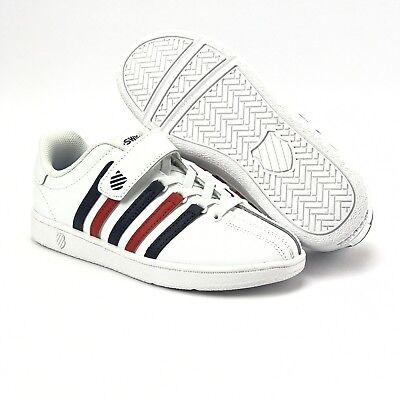 K Swiss Youth Boys Girls Varsity Classic VN Velcro White Sneakers