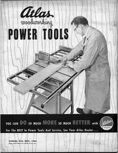1954 Atlas Woodworking Power Tools Instructions | eBay