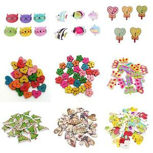EG-100-MIX-WOODEN-FLOWER-2-HOLES-BUTTONS-FOR-DIY-SEWING-CARDMAKING-SCRAPBOOK-F