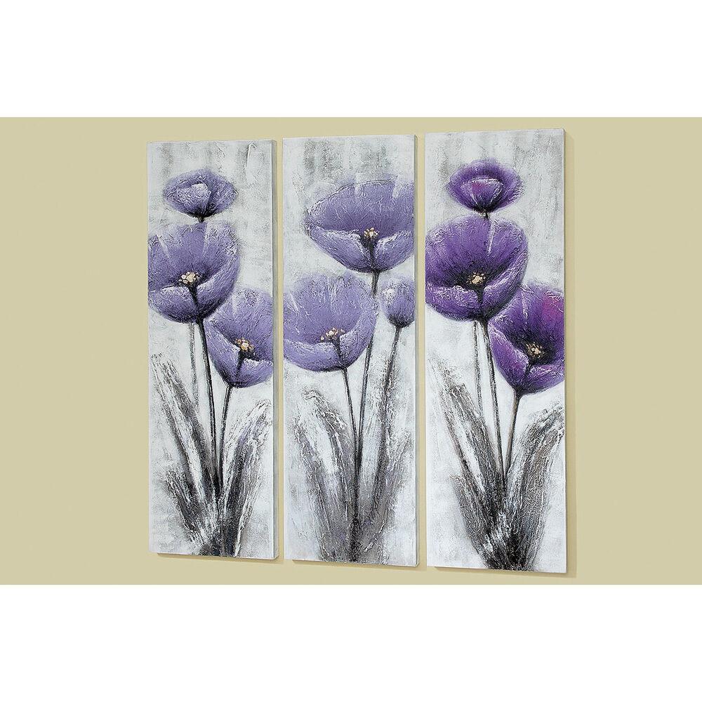 Image la fresque fleurs pavot violet 120cm MOD. B