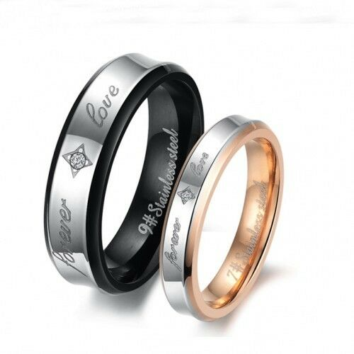 18K Gold GP Simple Classic Forever Love lettering Couple Ring