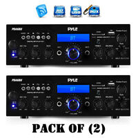 Pack Of (2) Pyle Pda6bu Bluetooth Stereo Amp Receiver Fm/lcd Display Mic Inputs on sale