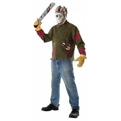 Jason Horror Mask & Shirt Costume Friday the 13th Halloween Fancy Dress