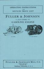Fuller Amp Johnson 1 12 Hp Model N Gas Engine Motor Book