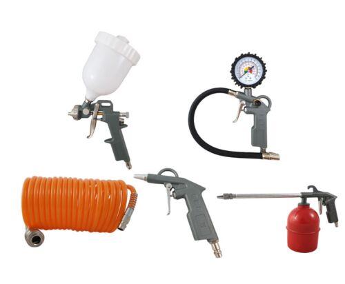 Druckluftgeräte Set 5-teilig Farbpistole Reifenfüller Blaspistole Sprühpistole