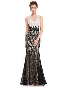 034-WILLOW-034-STUNNING-LADIES-SIZE-16-BLACK-CREAM-LACE-EVENING-GOWN-DRESS-BALL-FORMAL