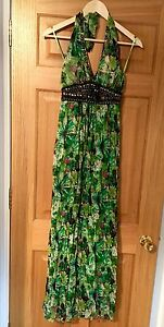 AX-Paris-Tropical-Green-Halter-Neck-Maxi-Dress-Size-8